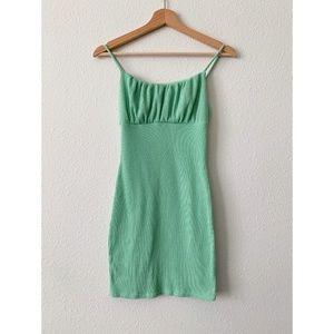 Fashion Nova Spring Green Ribbed Mini Dress